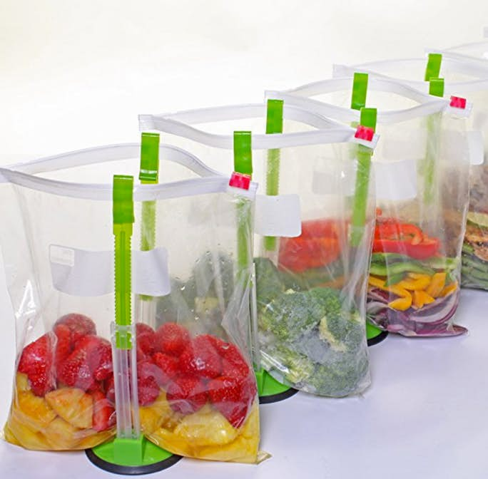 Baggy Racks make it so easy to fill bags of snacks for kids!