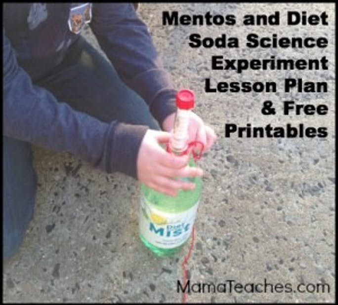 Mentos and Diet Soda Experiment with Free Lesson Plan and Printables