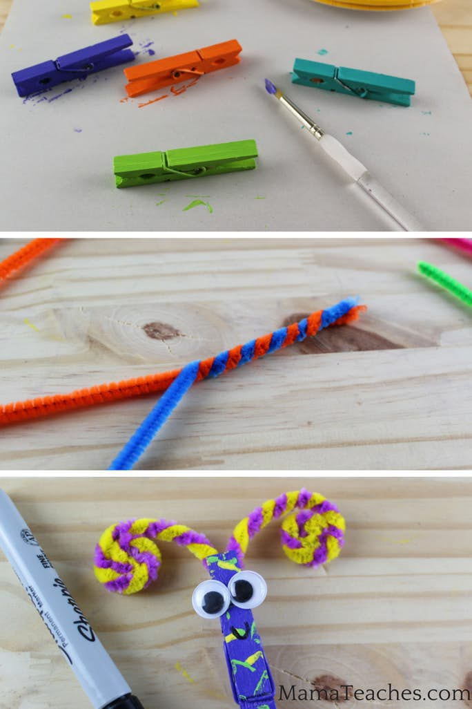 Paint the Clothespins for the Butterfly Snack Bag Clips