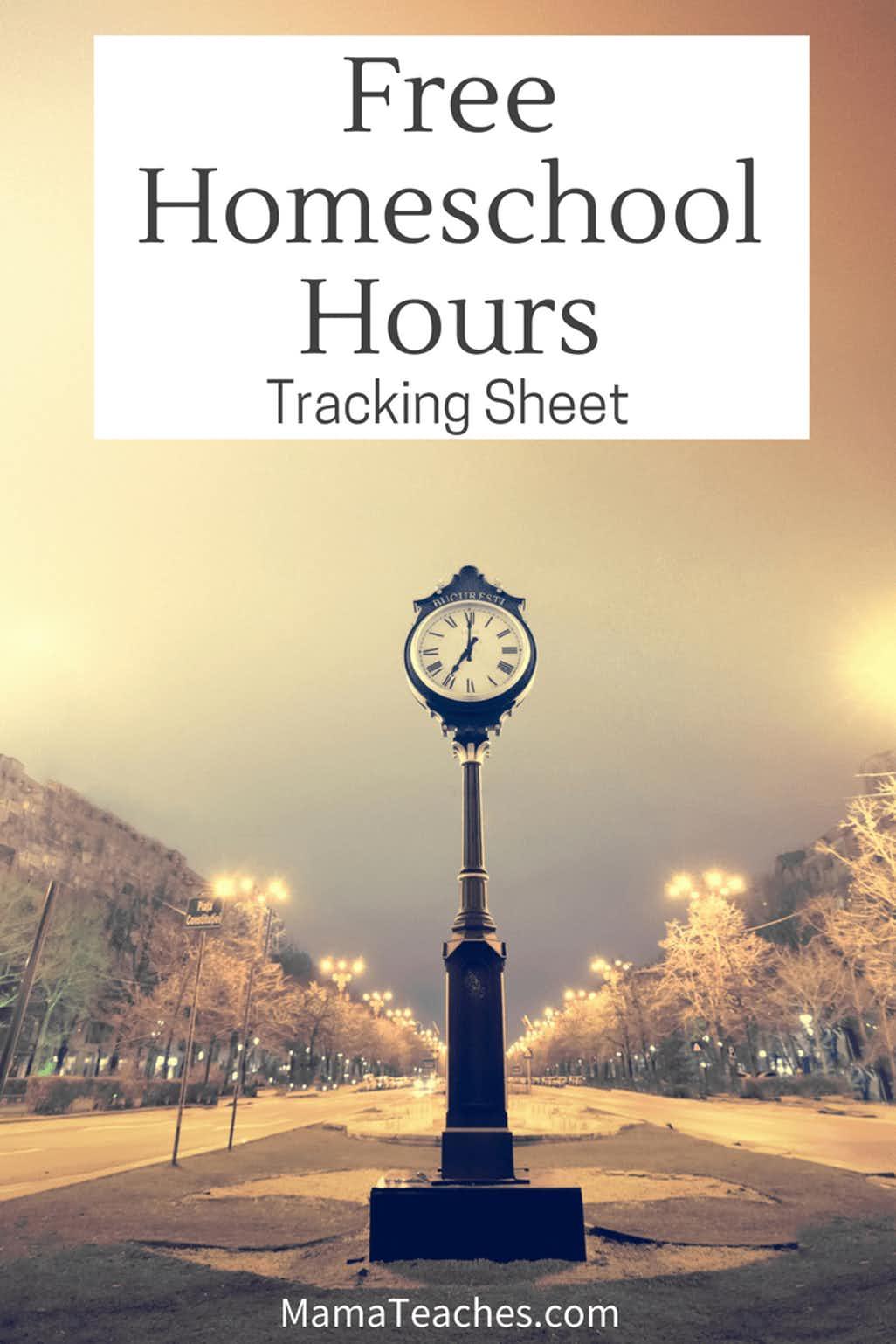 Simple Homeschool Hours Tracking Sheet Free Printable