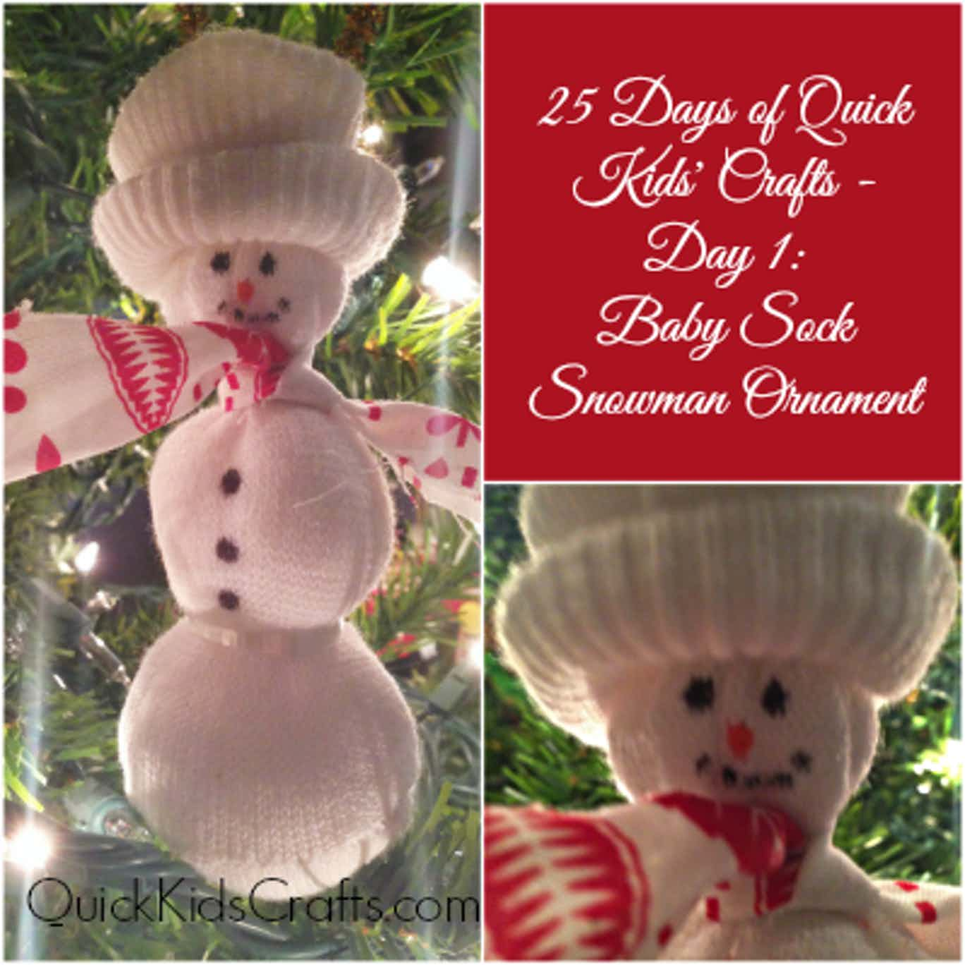 Baby Sock Snowman Ornament