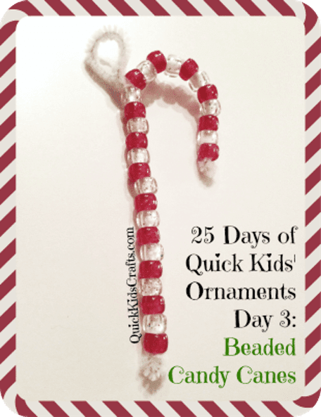 Beaded Candy Cane Ornaments for Kids