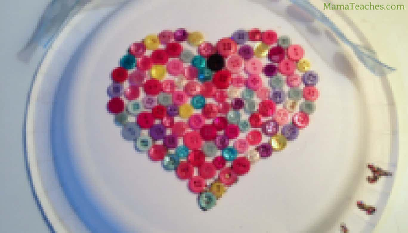 Button Heart Craft for Kids