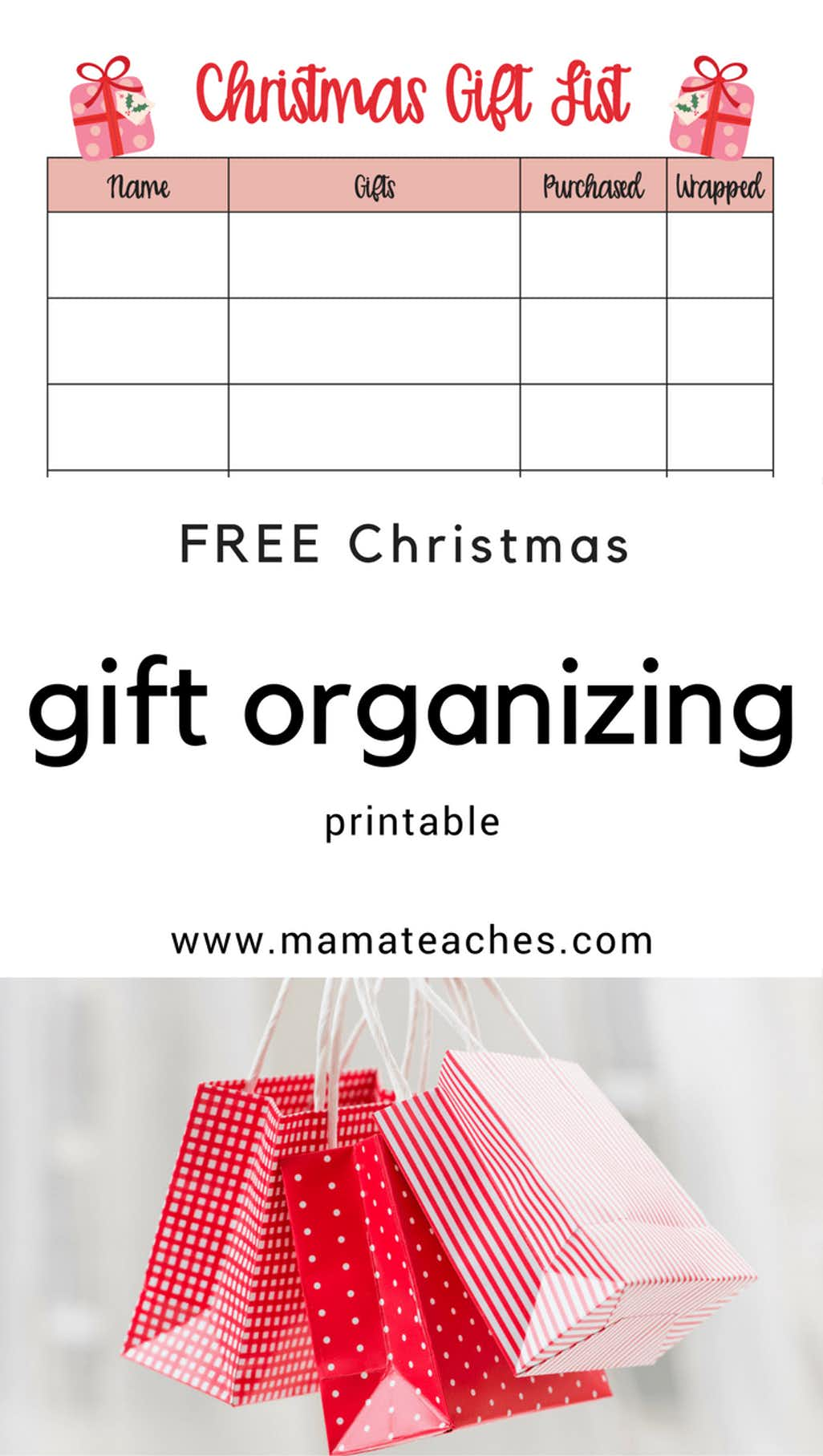 Free Christmas Gift Giving Organization Printable