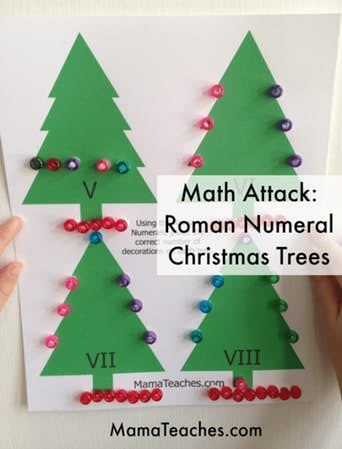 Christmas Tree Roman Numeral Match