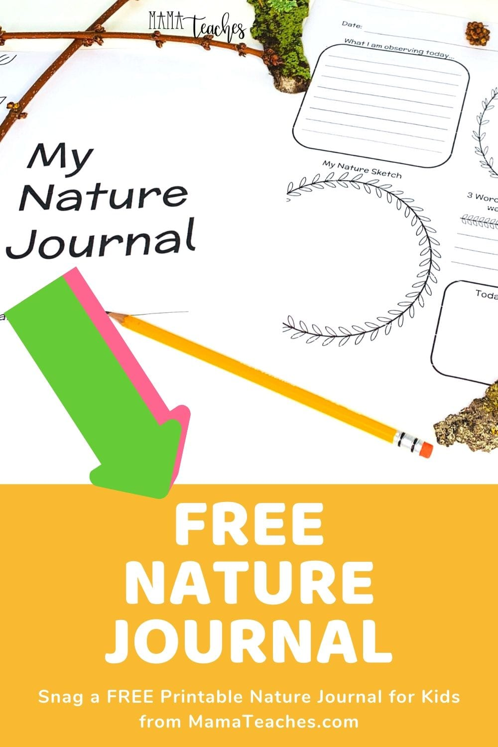 FREE NATURE JOURNAL Printable from MamaTeaches.com