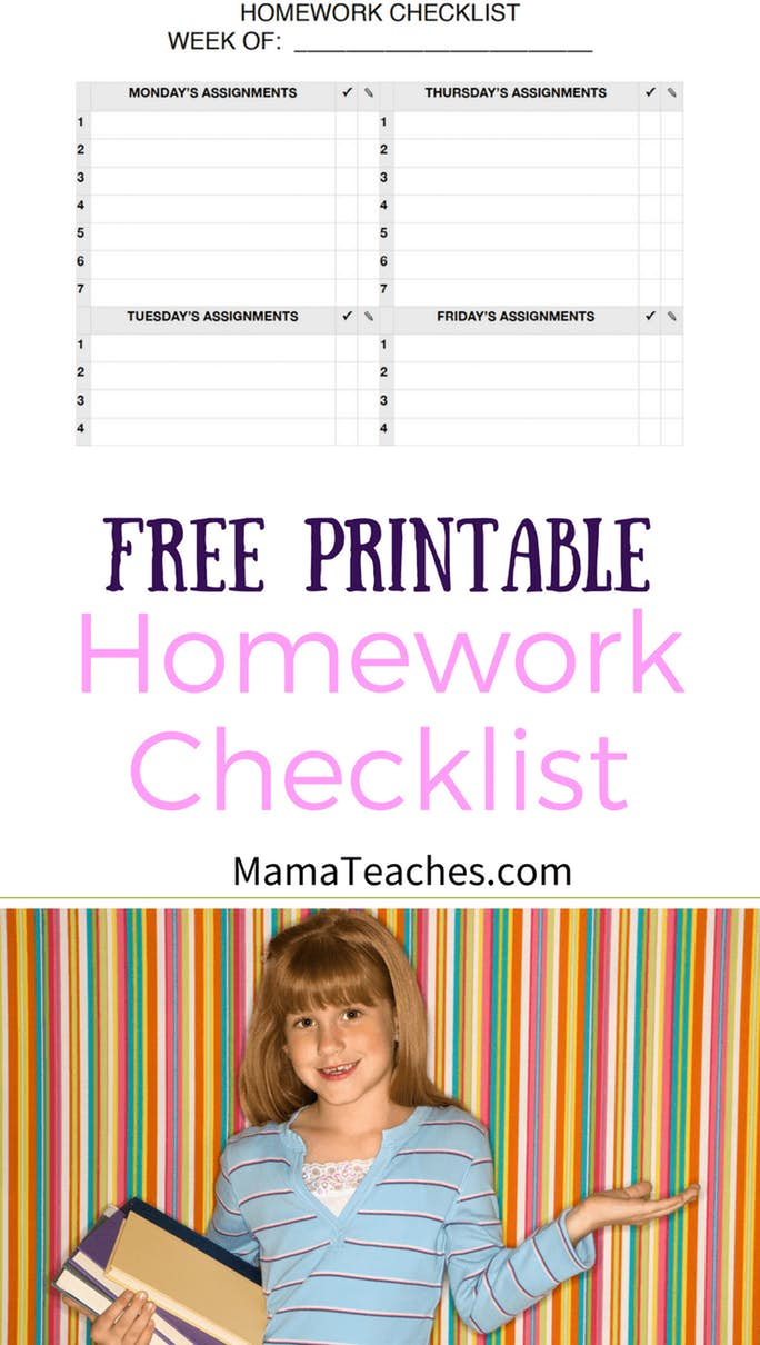Free Homework Checklist Printable