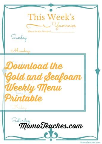 Freebie Friday Party: Weekly Menu Printable
