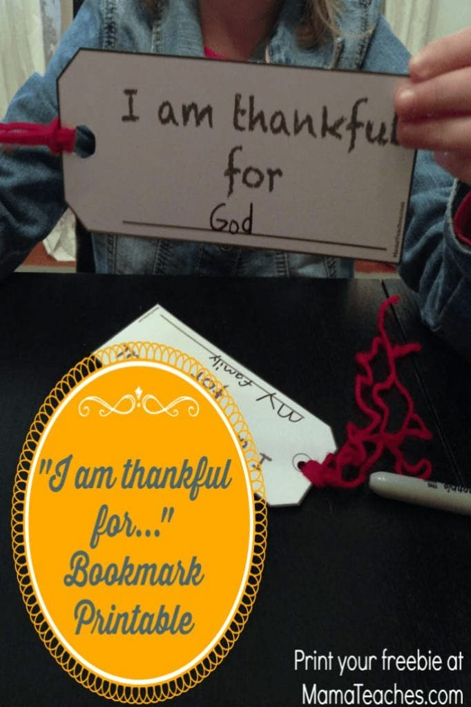 """Friday Freebie: """"I Am Thankful For…"""" Free Thanksgiving Bookmarks"""