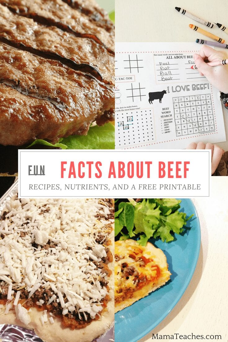 Fun Facts About Beef: Nutrients, Recipes, and a Free Printable Placemat!