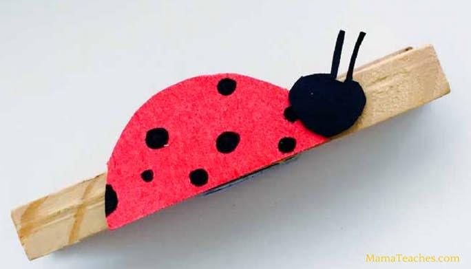 Ladybug Clothespin Craft for Kids