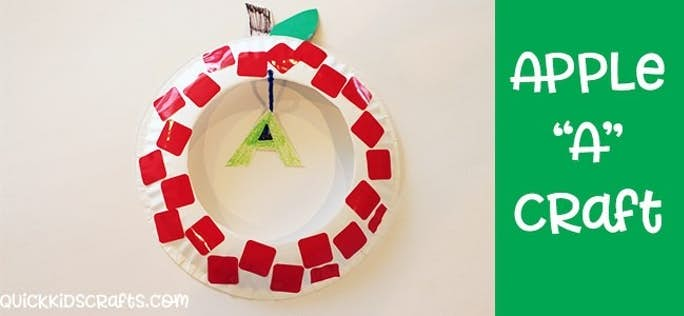 Letter A Craft – Paper Plate Apple Sticker Craft for Kids-1