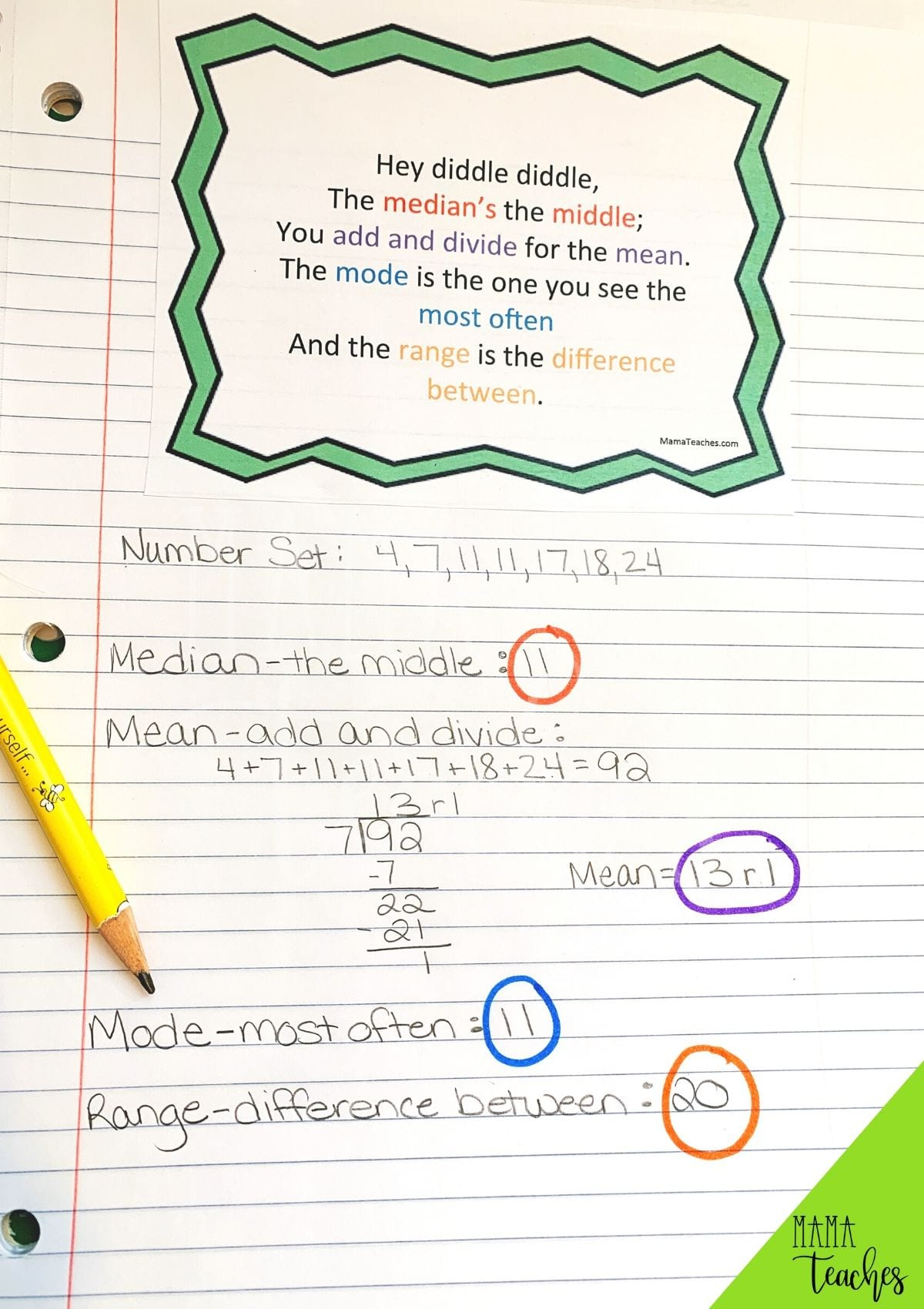 Mean Median Mode and Range Rhyme - Printable Math Anchor Chart for Math Notebooks from MamaTeaches