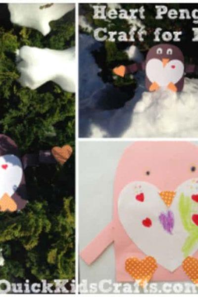 Penguin Heart Craft for Kids