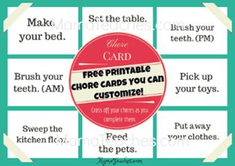 Printable Chore Chart Cards