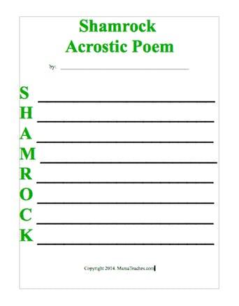 Shamrock Acrostic Poem Template