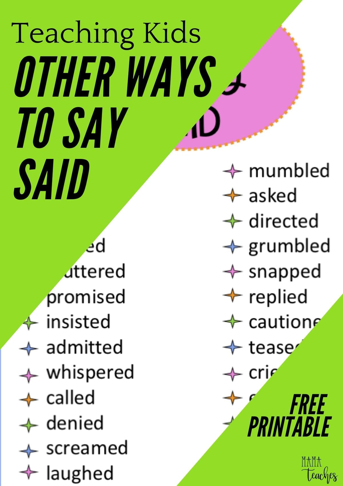 Teaching Kids Other Ways to Say Said - Free Printable Anchor Chart for Teaching Writing -  MamaTeaches.com