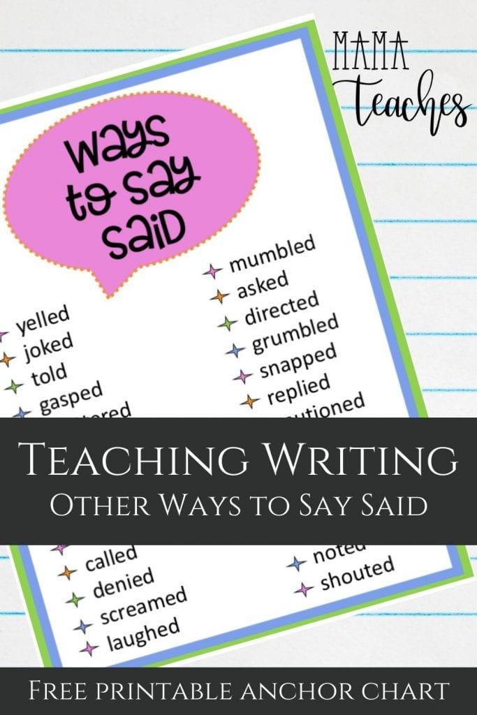 Ways to Say Said Anchor Chart