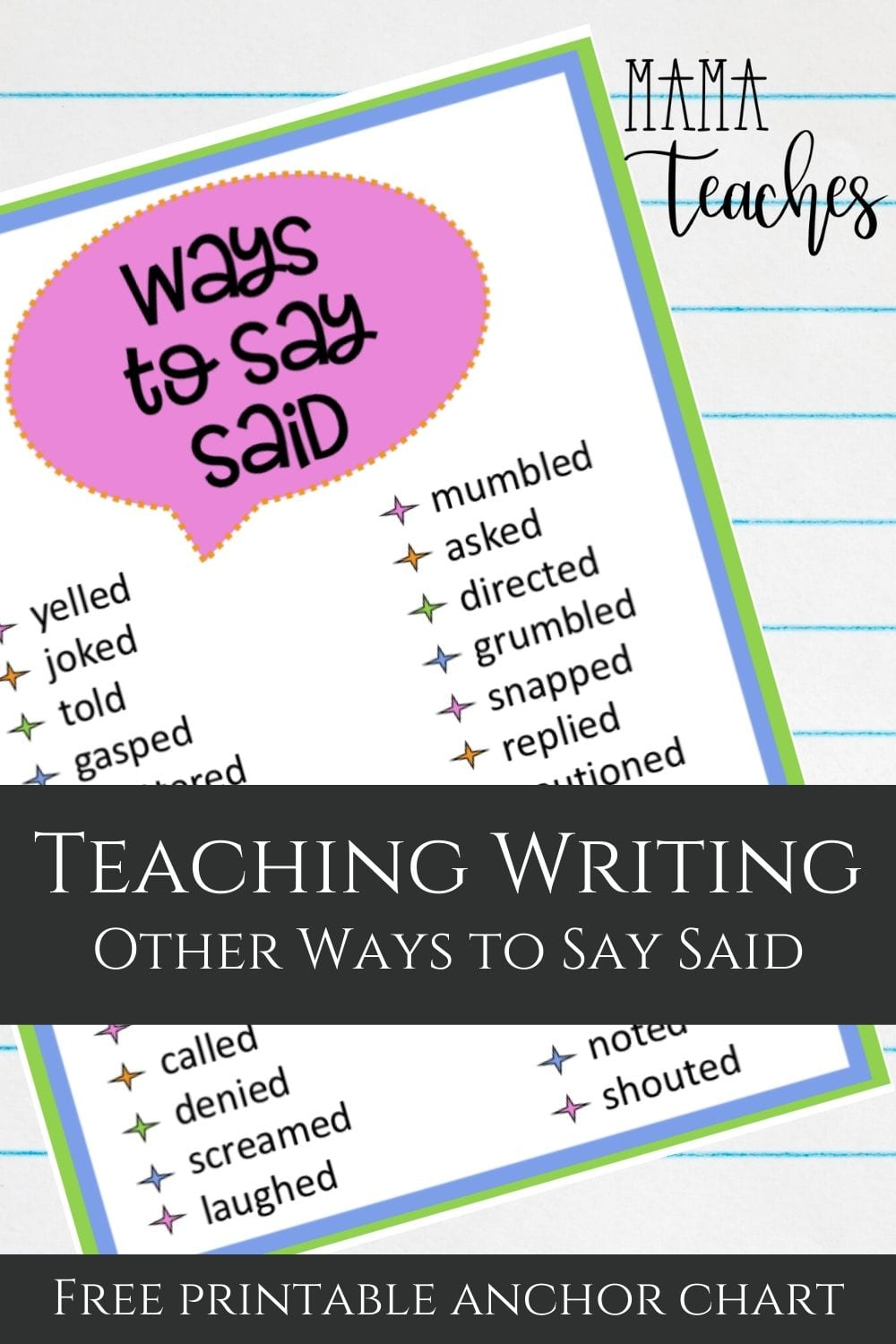 Teaching Writing - Other Ways to Say Said- Mama Teaches