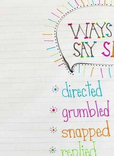 Teaching Writing to Kids - Other Ways to Say Said to Improve Dialogue - Free Printable Anchor Chart Included - MamaTeaches