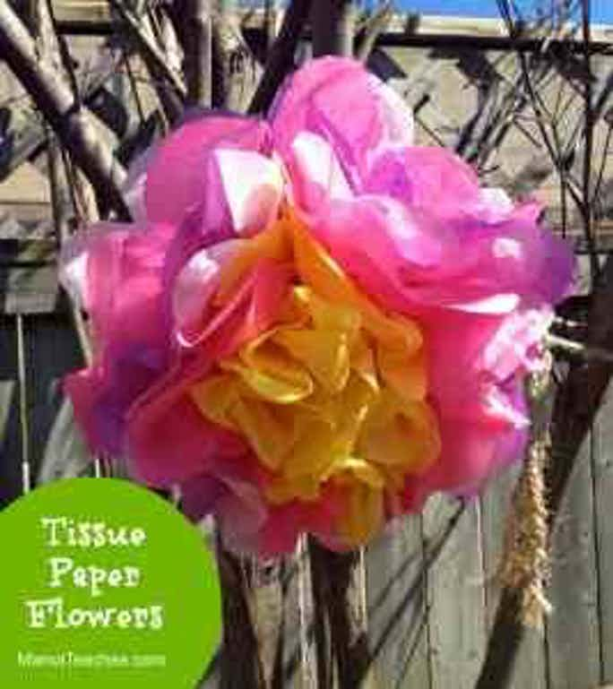 Tissue Paper Flowers Craft for Kids1