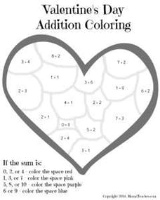Valentine's Day Heart Addition Coloring Sheet Printable