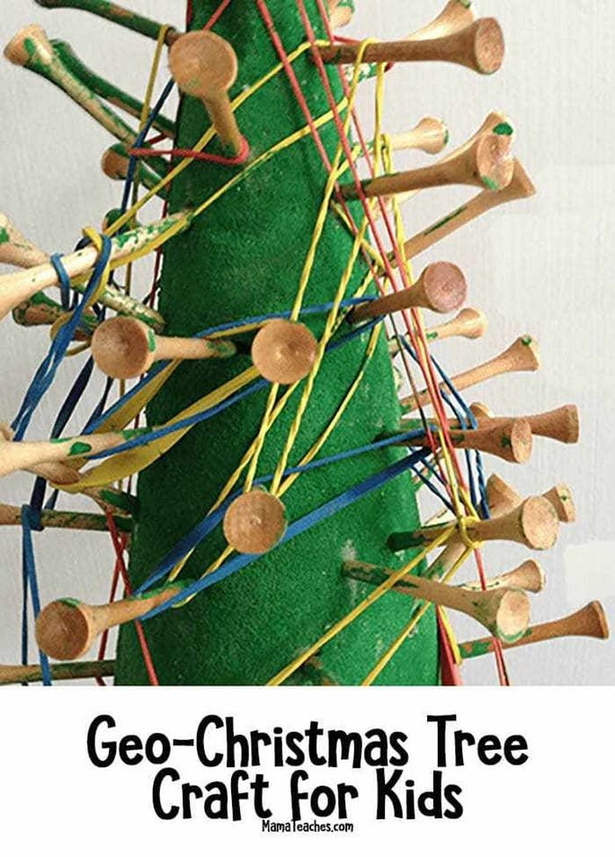 Easy Christmas Geo-Tree Craft for Kids