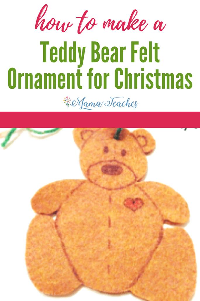 Felt Teddy Bear Ornament Craft for Kids