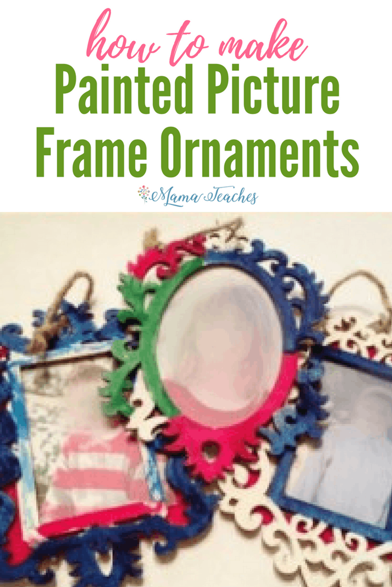 Painted Picture Frame Christmas Ornaments for Kids