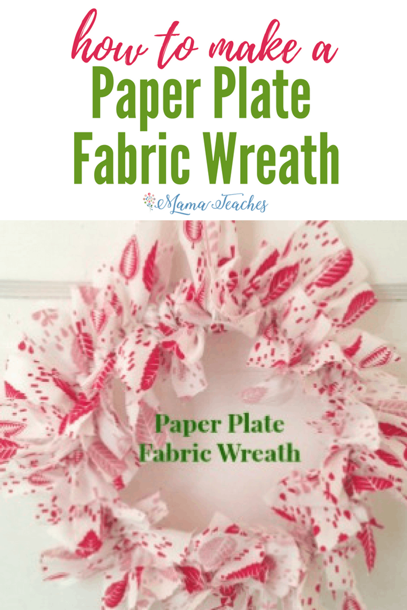 Paper Plate Fabric Wreath Christmas Craft for Kids
