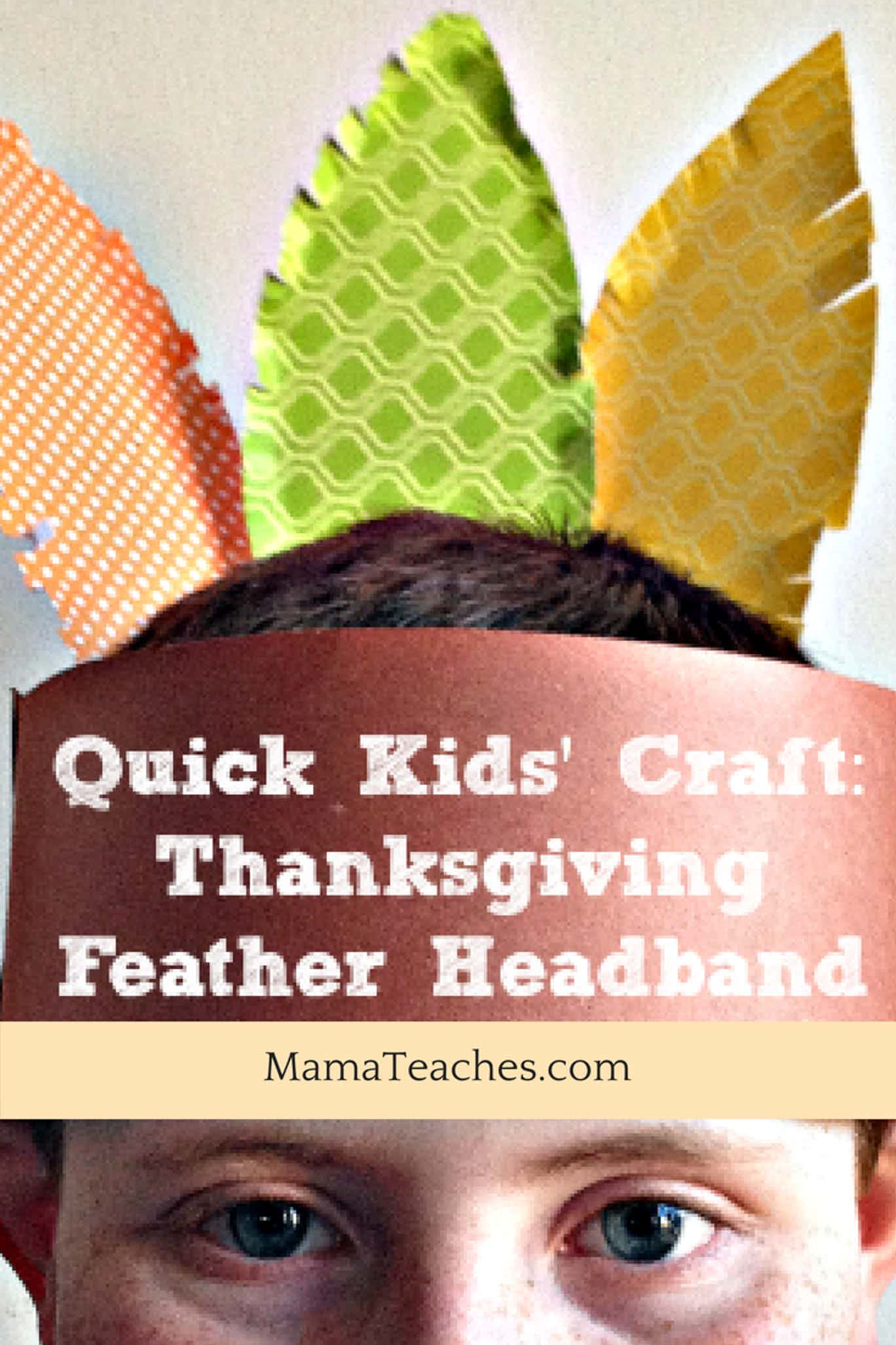 Thanksgiving Feather Headband Craft for Kids