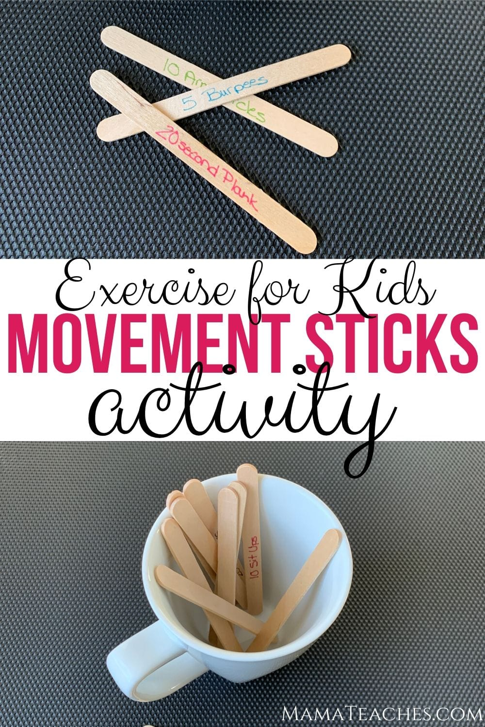 Exercise for Kids Movement Sticks Activity from MamaTeaches.com