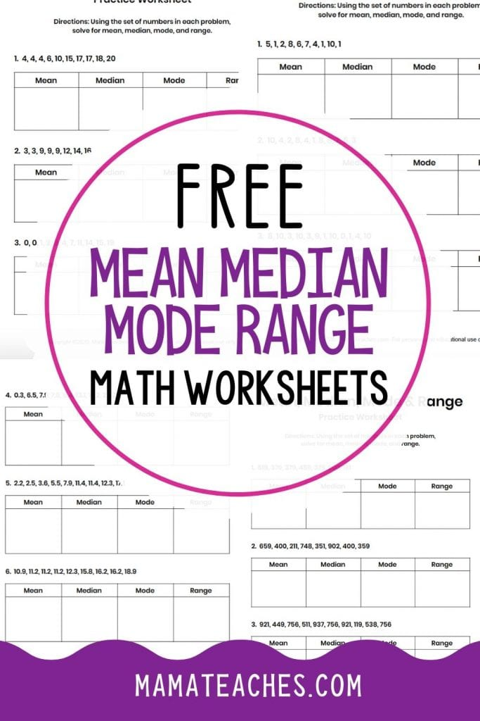 Free Math Worksheets for Mean Media Mode and Range