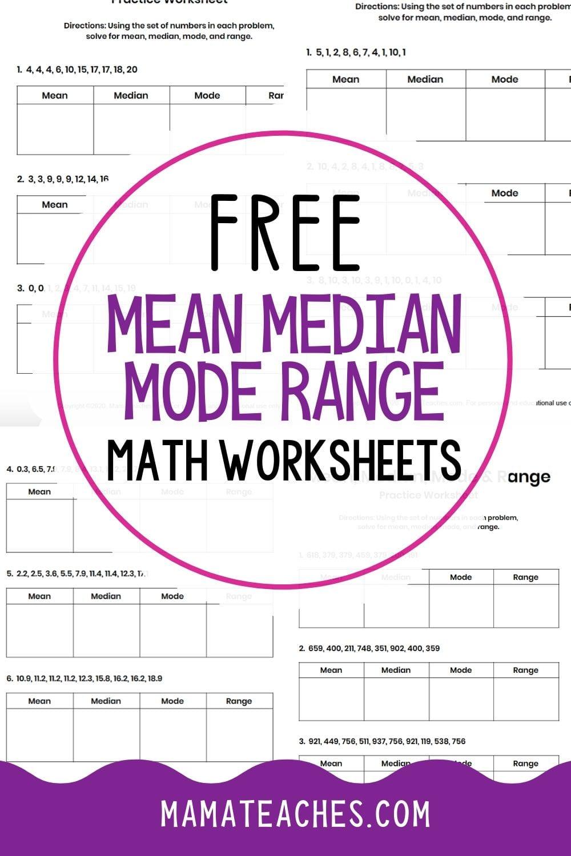 Free Math Worksheets - Mean Median Mode Range Worksheets