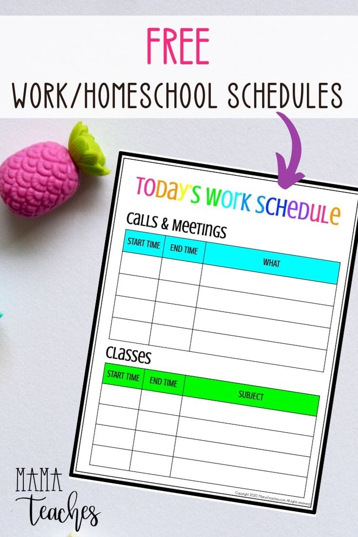 Free Work Homeschool Schedule Printable - MamaTeaches.com