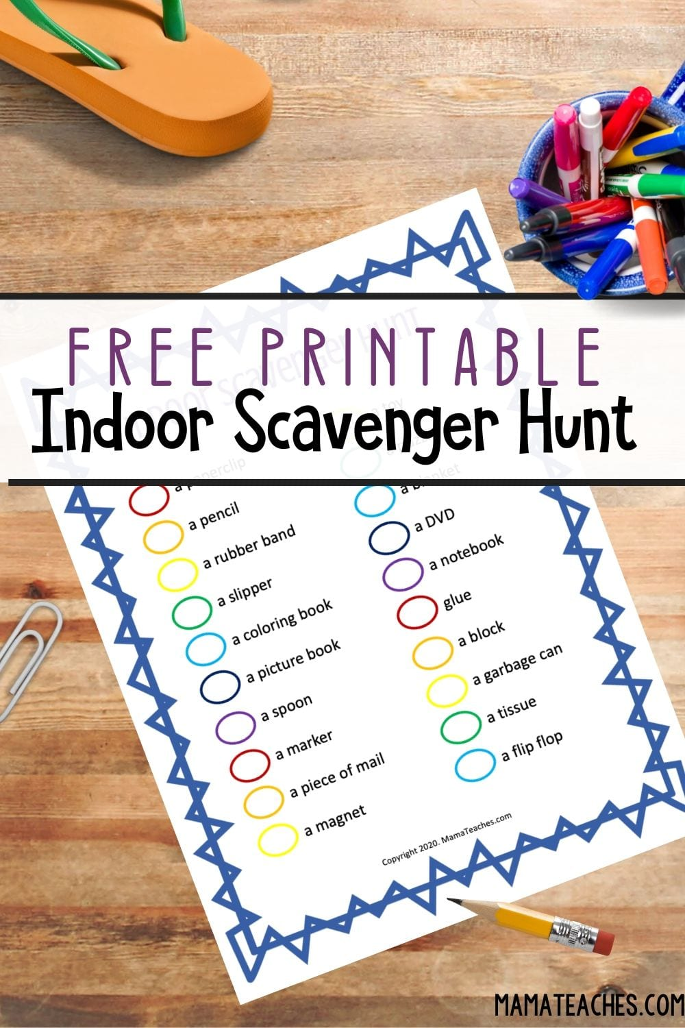 Free Printable Indoor Scavenger Hunt for Kids - MamaTeaches