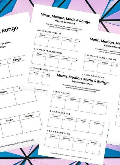 Mean Median Mode Range Math Worksheets for Kids