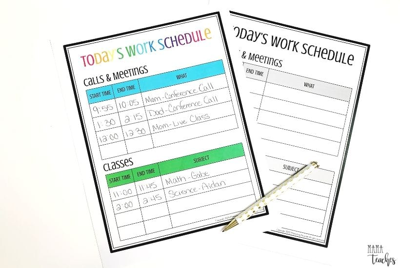 Work from Home Schedule Printable