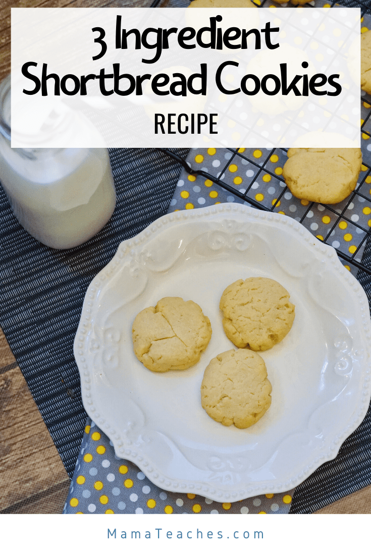 Easy and delicious 3 ingredient shortbread cookies recipe that's perfect for when you're quarantined! - MamaTeaches.com