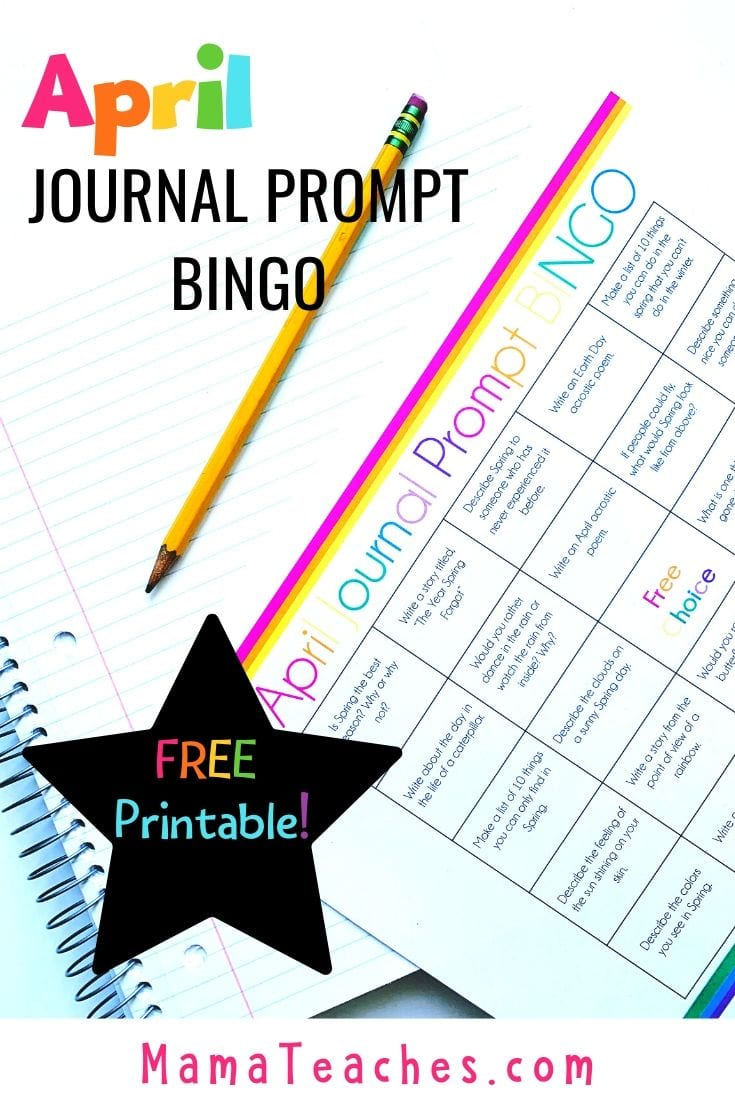 Free April Journal Writing Prompts for Kids in BINGO format! A fun way to get kids excited about writing! - MamaTeaches.com