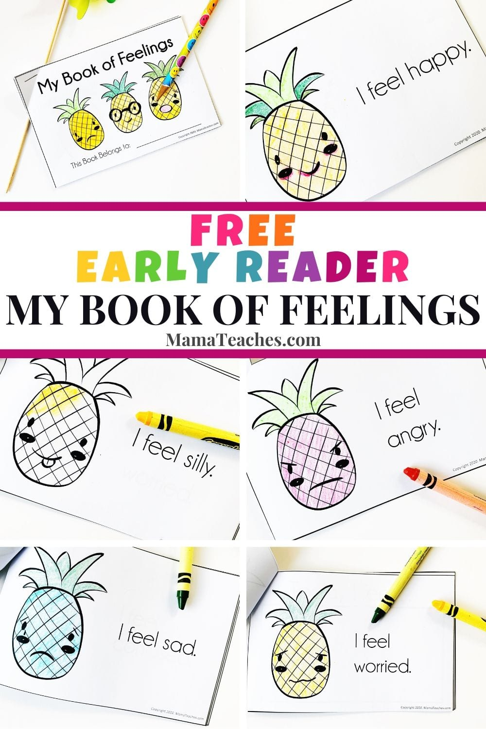 Free Early Reader for Preschool - My Book of Feelings - MamaTeaches.com