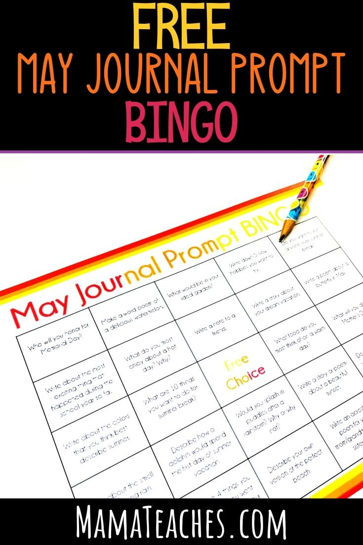 Free May Journal Prompt BINGO - A Fun Way to Do Writing Prompts for Kids in Upper Elementary - MamaTeaches.com