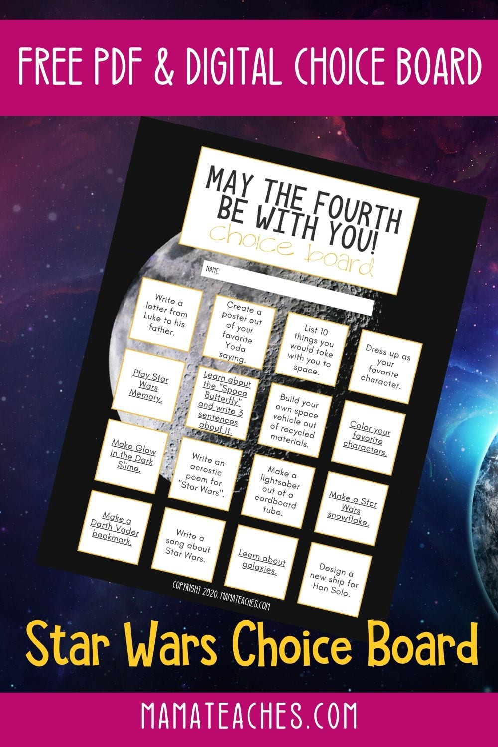 Free PDF and Digital Google Slide Star Wars Choice Board for May 4th Star Wars Day - May the 4th Be With You - MamaTeaches.com