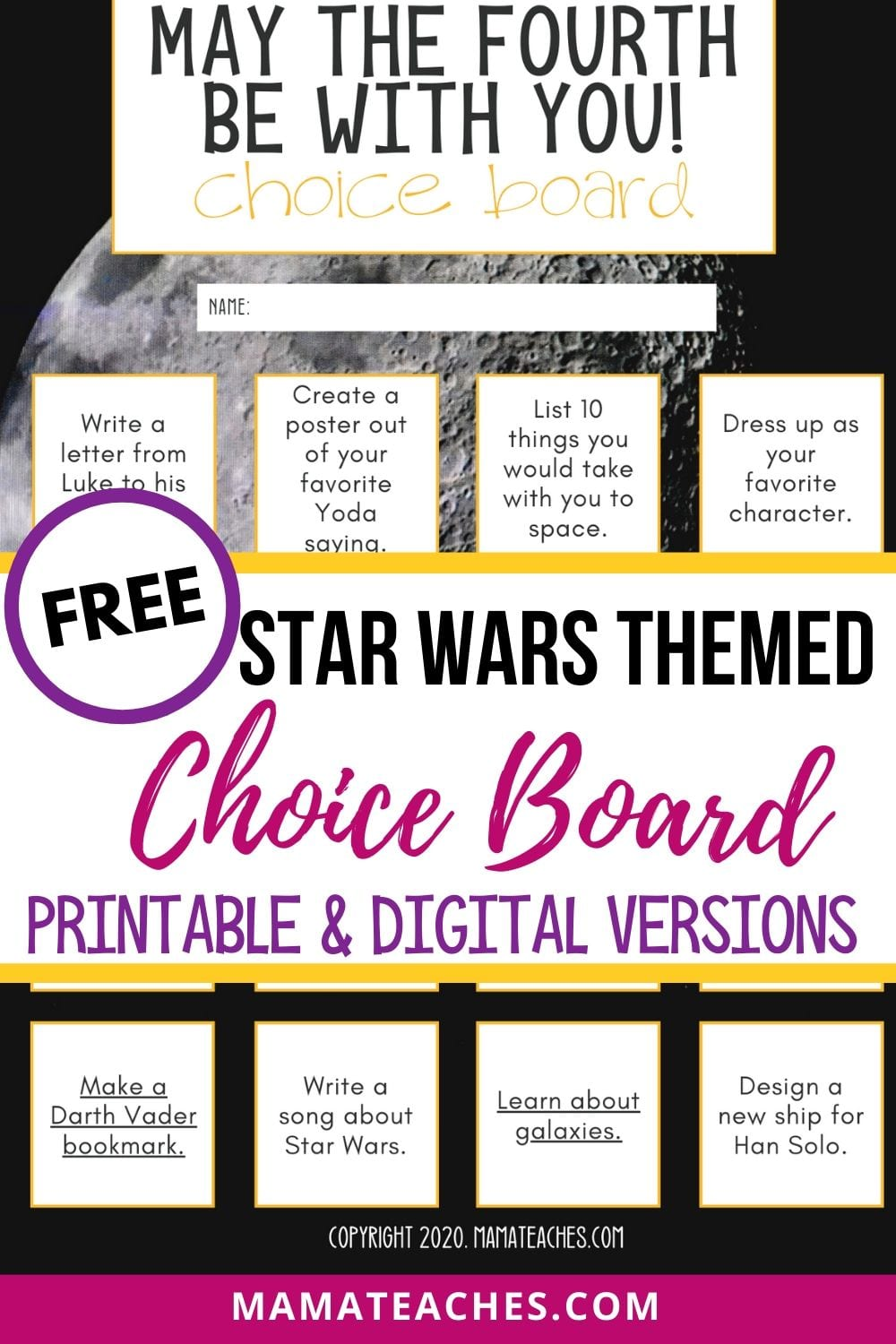 Free Star Wars Themed Choice Board - Printable and Digital Versions for Distance Learning - May the 4th Be With You! MamaTeaches.com