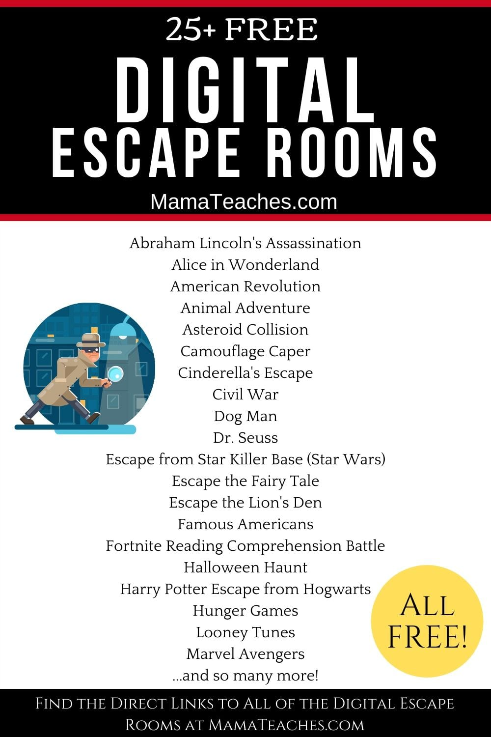 25+ Free Digital Escape Rooms for Distance Learning - Perfect for use at home or at school! They're great for distance learning too!!