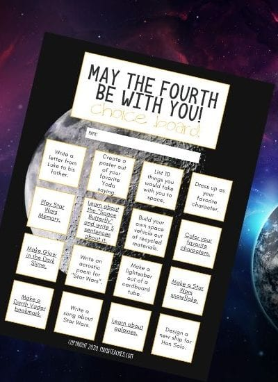 May the 4th Be With You Free Choice Board for Star Wars Day - Digital and PDF Versions - MamaTeaches.com