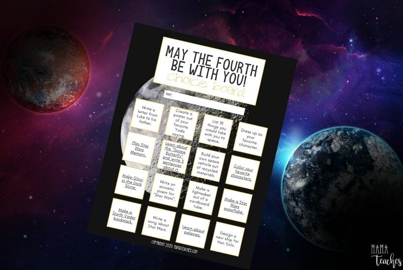 """""""May the Fourth be with you"""" choice board - a Star Wars inspired choice board - digital and printable versions from MamaTeaches.com"""