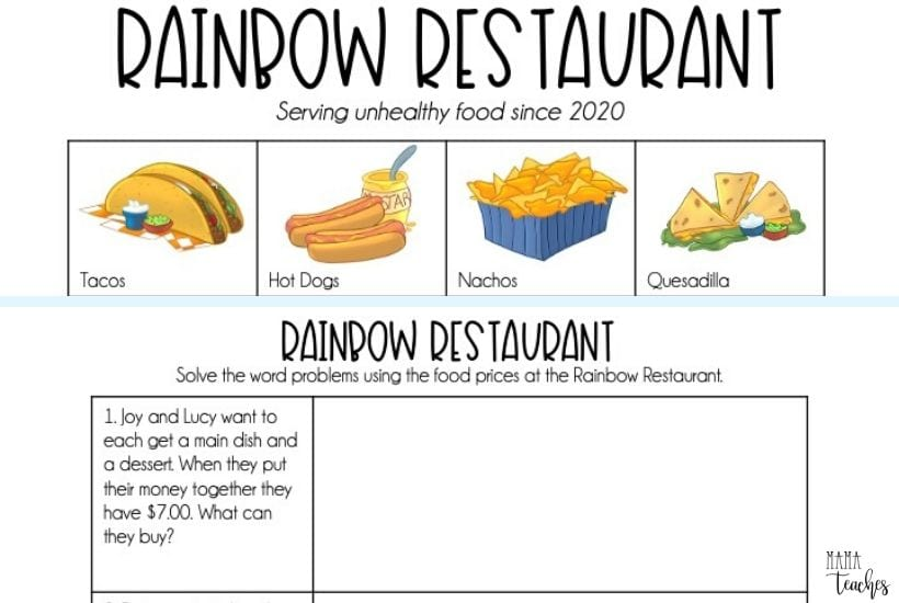 Real Life Math - Rainbow Restaurant Free Math Worksheets