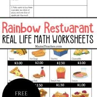 Rainbow Restuarant Real Life Math Worksheets
