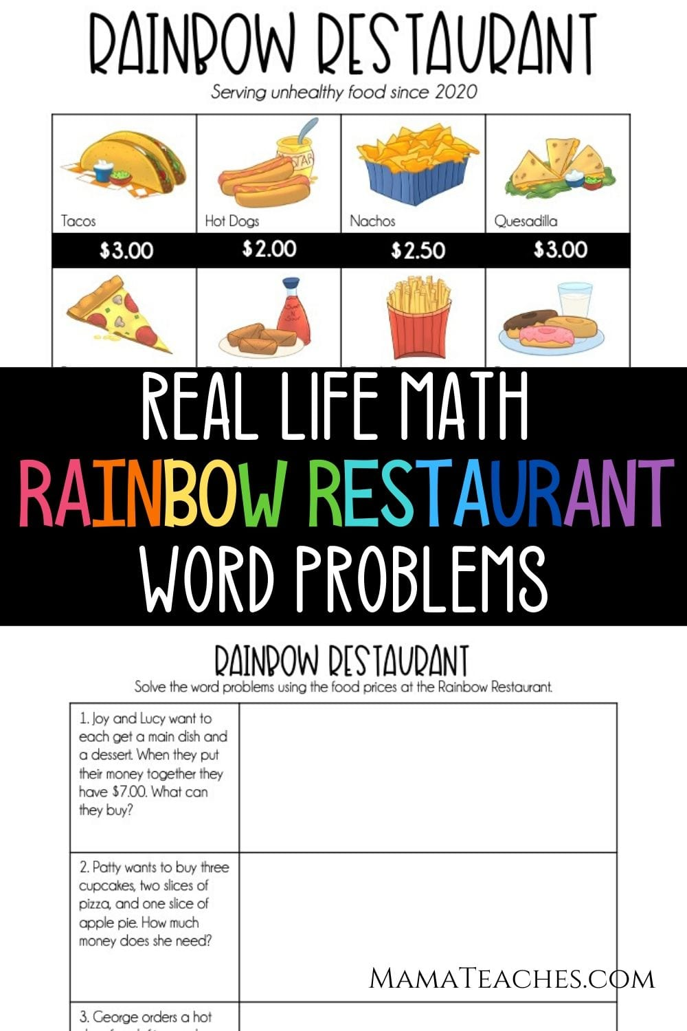 Rainbow Restaurant - Real Life Math Word Problems for Upper Elementary - MamaTeaches.com